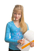 Blonde girl and mathematic — Stock Photo