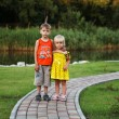 Two children (the boy and the girl) on walk in park in the summer — Stock Photo