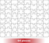 Blank puzzle form. 64 pieces. — Stock Vector