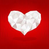Origami heart on red background. — Vector de stock