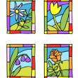 Simple spring flowers. Styled stained glass. — Stock Vector