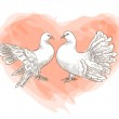 Couple doves with symbol of love - red heart. — Stock Vector