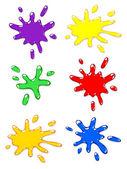 Paintball color splash set. — Stock Vector