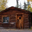 Stock Photo: Old weathered traditional log cabin, Yukon, Canada
