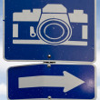 Point of interest road sign with white camera icon — Stock Photo