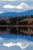 Power line på lugna yukon sjön i sena falla, kanada — Stockfoto