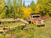 Rusty Truck and Grader forgotten in fall forest — Stock Photo