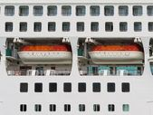 Abstract of lifeboats on a large cruise ship — Stock Photo