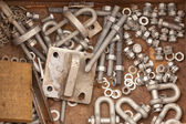 Assorted metal hardware for maintenance work — Stock Photo