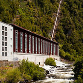 Generator house of hydro-electric power plant — Stock Photo