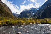 Hollyford River valley in Fjordland NP, NZ — Stock Photo