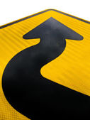 Wavy arrow on road sign pointing up for success — Stock Photo