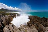 普纳凯基,nz 的气孔煎饼岩石中冲浪 — 图库照片