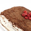 Stock Photo: Homemade cram cake with chocolate and cherries