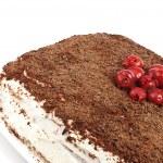 Homemade cram cake with chocolate and cherries — Stock Photo