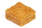 Portion of honey cake — Stock Photo