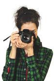 Kadın fotoğrafçı ile fotoğraf makinesi — Stok fotoğraf