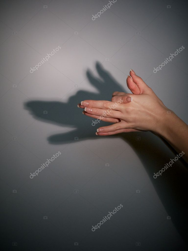 Silhouette shadow of wolf from young woman's hands  Stock Photo #8625243