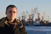 Man in the port — Stock Photo