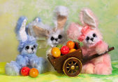 Three Easter bunny rabbit — Stock Photo