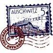 Stock Vector: Vector illustration of Auschwitz stamp