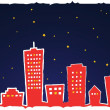 Vector illustration of stylized city at night - Stock Vector