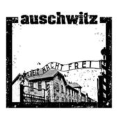 Vector illustration of Auschwitz stamp — Stock Vector