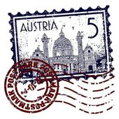 Vector illustration of stamp or postmark of Austria — Vetor de Stock