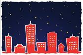 Vector illustration of stylized city at night — Stock Vector