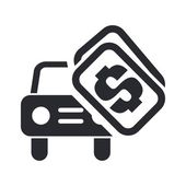 Vector illustration of single isolated car sale icon — Vettoriale Stock