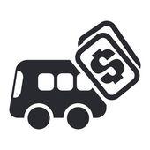 Ilustracja wektorowa na białym tle autobusem koszt ikony — Wektor stockowy