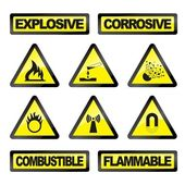 Vector illustration of danger industry icons — Stock Vector