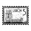 Vector illustration of isolated Lisbon icon — Stock Vector