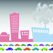 Vector illustration of vector pollution industry background design - Imagens vectoriais em stock