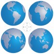 Vector illustration of world globe maps and compass - Vettoriali Stock