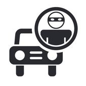 Vector illustration of single thief car icon — Stock Vector
