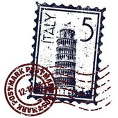 Izole İtalya damga simge vektör çizim — Stok Vektör