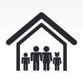 Vektor-Illustration der einzelnen Familie Haussymbol — Stockvektor
