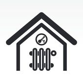 Vector illustration of single home temperature icon — Stock Vector