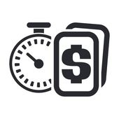 Vector illustration of single time-money icon — Stock Vector