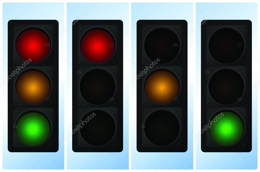 Vector illustration of single isolated traffic light icon  Stock Vector #8825796