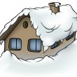 Snowy Cottage — Stock Photo