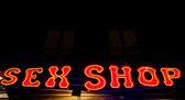 Sexy shop entrance — Stock Photo