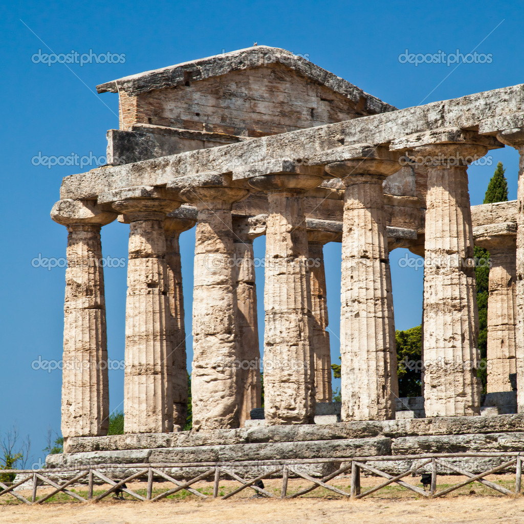 The main features of the site today are the standing remains of three major temples in Doric style, dating from the first half of the 6th century BC — Stock Photo #9196119