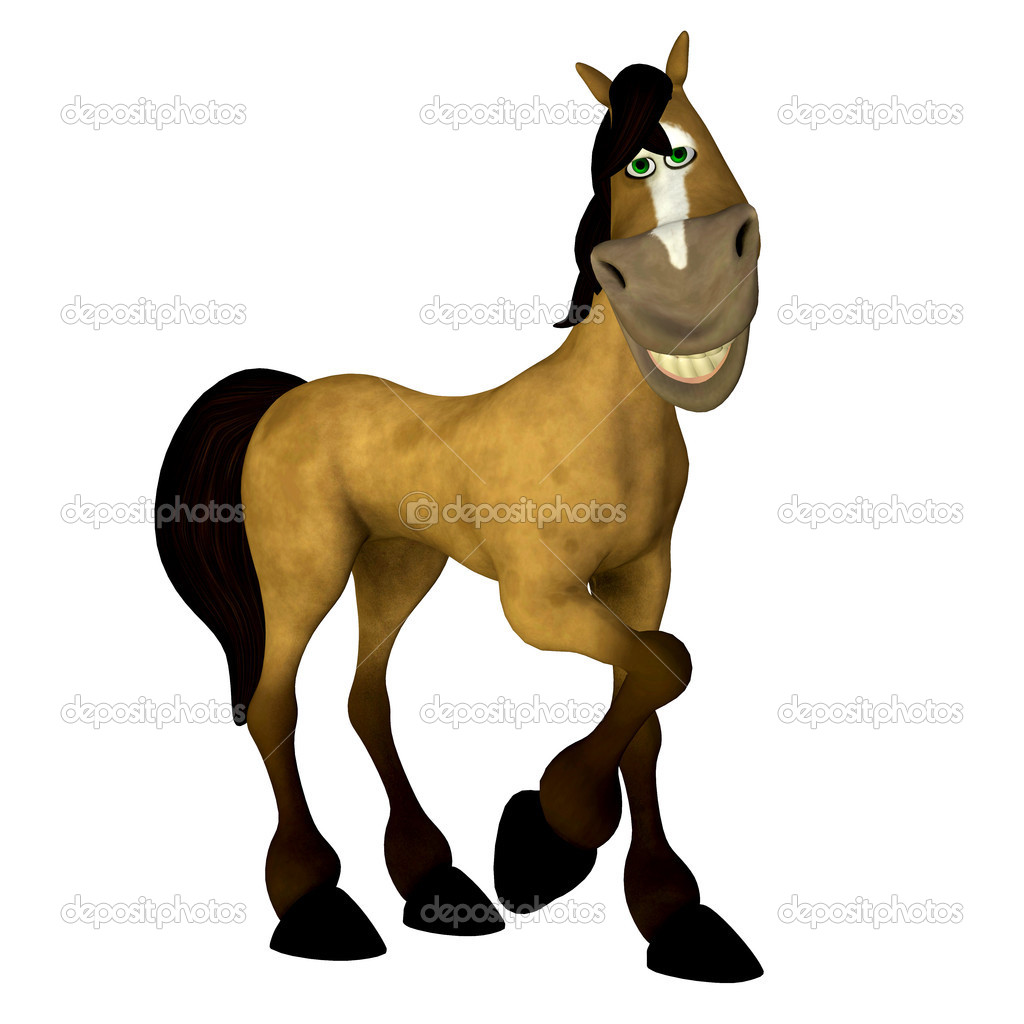 Illustration of a sexy cartoon horse isolated on a white background