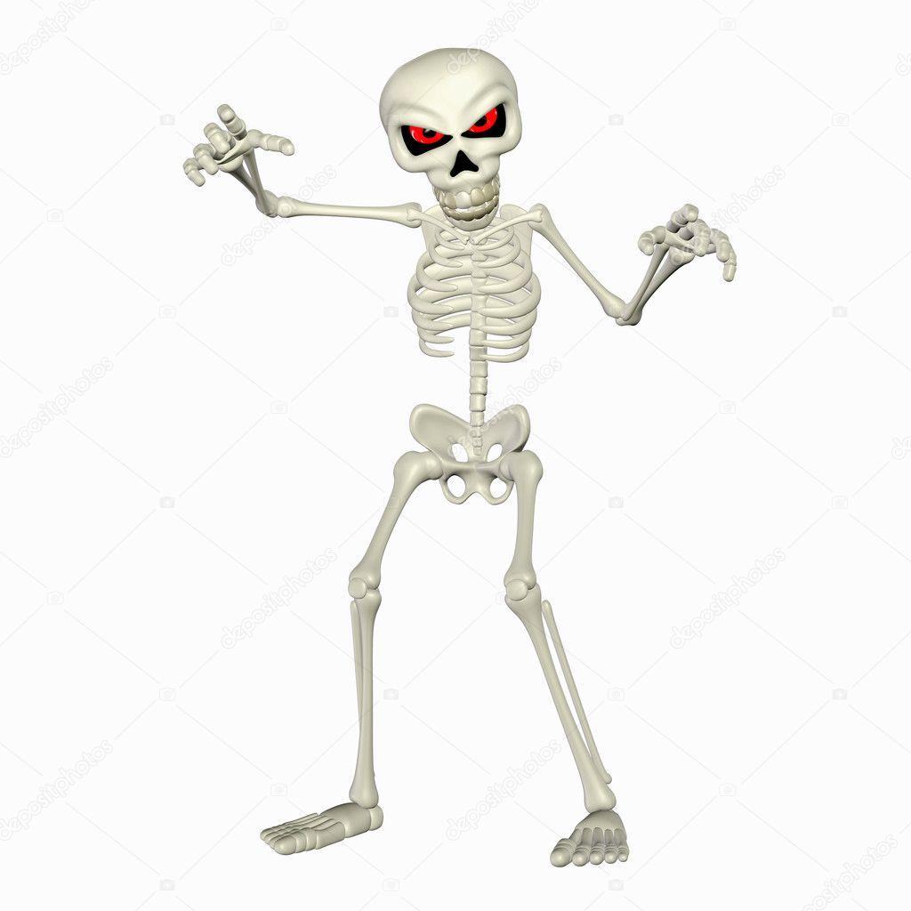 Esqueleto assustador dos desenhos animados — fotografias
