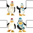 Penguins holding a sign Pack — Stock Photo #10531040