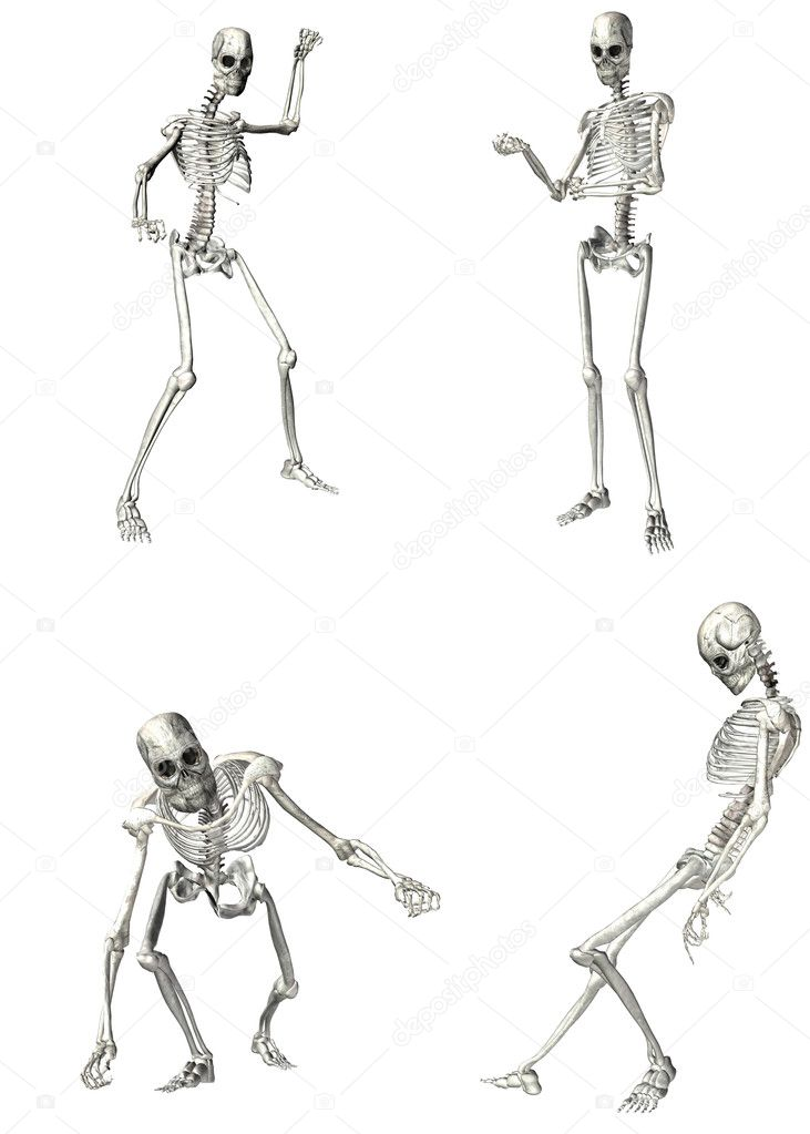 Illustration of a pack of four (4) skeletons with different poses isolated on a white background - 1of2 — Stock Photo #10530925