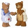 Медведь доктор и медсестра в любви — Стоковое фото
