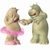 Hippopotamus in Love — Stock Photo